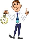 Geschäftsmann und Uhr lizenzfreie abbildung