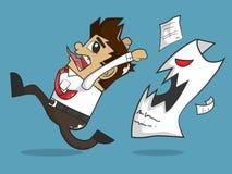 Geschäftsmann und verärgertes Papier Lizenzfreie Stockbilder