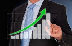 Geschäftsmann und Wachstumstabelle Lizenzfreie Stockfotos