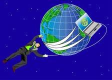 Geschäftsmann und Welt stockbild