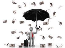 Geschäftsmann unter Dollar-Regen Stockbild