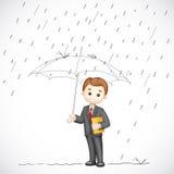 Geschäftsmann unter Regenschirm Lizenzfreies Stockfoto