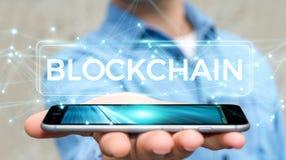 Geschäftsmann unter Verwendung blockchain cryptocurrency Schnittstelle 3D renderi Stockfoto