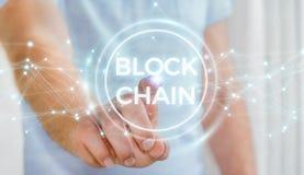 Geschäftsmann unter Verwendung blockchain cryptocurrency Schnittstelle 3D renderi Stockbilder