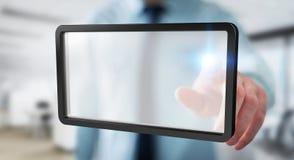 Geschäftsmann unter Verwendung der digitalen Wiedergabe der Schirmtablette 3D Lizenzfreies Stockbild