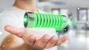 Geschäftsmann unter Verwendung der grünen Batterie mit Wiedergabe der Blitze 3D Lizenzfreie Stockbilder