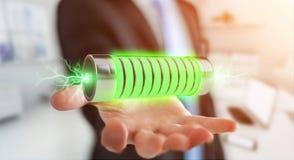 Geschäftsmann unter Verwendung der grünen Batterie mit Wiedergabe der Blitze 3D Stockbilder