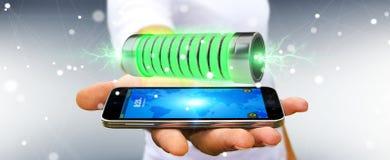 Geschäftsmann unter Verwendung der grünen Batterie mit Wiedergabe der Blitze 3D Stockbild