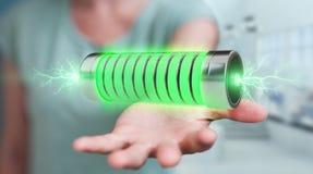 Geschäftsmann unter Verwendung der grünen Batterie mit Wiedergabe der Blitze 3D Stockfoto