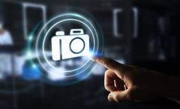 Geschäftsmann unter Verwendung der modernen Wiedergabe der Kameraanwendung 3D Lizenzfreies Stockfoto