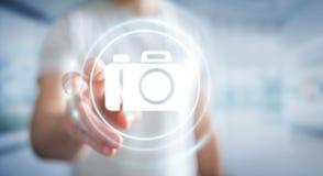 Geschäftsmann unter Verwendung der modernen Wiedergabe der Kameraanwendung 3D Lizenzfreie Stockfotografie