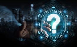 Geschäftsmann unter Verwendung der Wiedergabe der digitalen Schnittstelle 3D der Fragezeichen Stockfoto