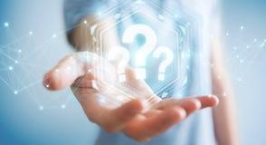 Geschäftsmann unter Verwendung der Wiedergabe der digitalen Schnittstelle 3D der Fragezeichen Lizenzfreies Stockfoto