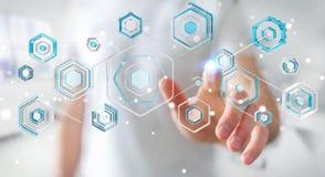 Geschäftsmann unter Verwendung des Antivirus, zum einer Wiedergabe des Cyberangriffs zu blockieren 3D Lizenzfreie Stockfotos