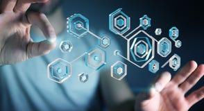 Geschäftsmann unter Verwendung des Antivirus, zum einer Wiedergabe des Cyberangriffs zu blockieren 3D Lizenzfreie Stockfotografie