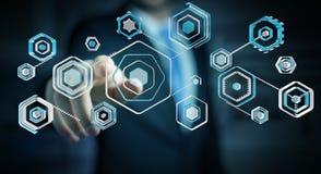 Geschäftsmann unter Verwendung des Antivirus, zum einer Wiedergabe des Cyberangriffs zu blockieren 3D Stockfotos