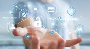 Geschäftsmann unter Verwendung des Antivirus, zum einer Wiedergabe des Cyberangriffs zu blockieren 3D Stockfotografie