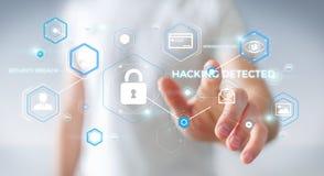 Geschäftsmann unter Verwendung des Antivirus, zum einer Wiedergabe des Cyberangriffs zu blockieren 3D Stockbilder