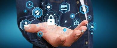 Geschäftsmann unter Verwendung des Antivirus, zum einer Wiedergabe des Cyberangriffs zu blockieren 3D Stockfoto