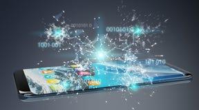 Geschäftsmann unter Verwendung des digitalen binär Code auf Handy 3D renderi Lizenzfreie Stockbilder