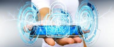 Geschäftsmann unter Verwendung des digitalen Vorhängeschlosses, zum seines Daten 3D renderi zu sichern Lizenzfreies Stockfoto