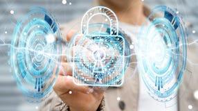 Geschäftsmann unter Verwendung des digitalen Vorhängeschlosses, zum seines Daten 3D renderi zu sichern Lizenzfreie Stockfotos