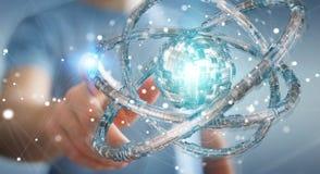 Geschäftsmann unter Verwendung des futuristischen Torus maserte Wiedergabe des Gegenstandes 3D Stockfoto