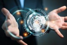 Geschäftsmann unter Verwendung des Hologrammschirmes mit digitale Daten 3D renderin lizenzfreie abbildung