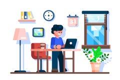 Geschäftsmann unter Verwendung des Laptops am Schreibtischarbeitsplatz lizenzfreie abbildung