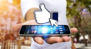 Geschäftsmann unter Verwendung des modernen Sozialen Netzes Stockfotografie