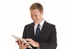Geschäftsmann unter Verwendung des Screen-Tablettecomputers Stockfotografie