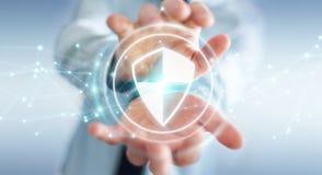 Geschäftsmann unter Verwendung des sicheren Schutzes des Schildes mit Verbindungen 3D ren Lizenzfreie Stockfotos