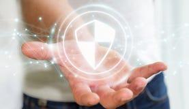 Geschäftsmann unter Verwendung des sicheren Schutzes des Schildes mit Verbindungen 3D ren Stockfotos