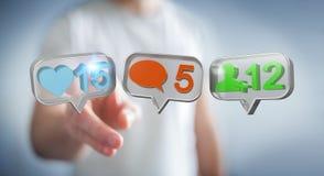 Geschäftsmann unter Verwendung digitalen bunten Social Media-Ikonen 3D renderi Stockfoto