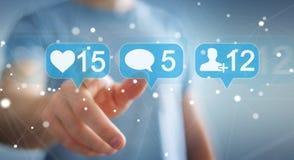 Geschäftsmann unter Verwendung digitalen bunten Social Media-Ikonen 3D renderi Stockbild