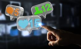 Geschäftsmann unter Verwendung digitalen bunten Social Media-Ikonen 3D renderi Lizenzfreie Stockbilder