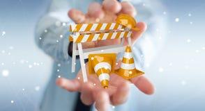 Geschäftsmann unter Verwendung digitalen 3D, das im Bau Zeichen überträgt Lizenzfreie Stockbilder