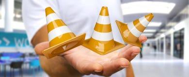 Geschäftsmann unter Verwendung digitalen 3D, das im Bau Zeichen überträgt Stockfoto