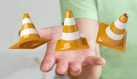 Geschäftsmann unter Verwendung digitalen 3D, das im Bau Zeichen überträgt Lizenzfreie Stockfotos