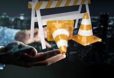 Geschäftsmann unter Verwendung digitalen 3D, das im Bau Zeichen überträgt Stockbild