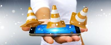 Geschäftsmann unter Verwendung digitalen 3D, das im Bau Zeichen überträgt Stockfotos