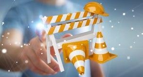 Geschäftsmann unter Verwendung digitalen 3D, das im Bau Zeichen überträgt Stockfotografie
