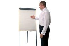 Geschäftsmann unter Verwendung einer Flip-Chart stockfoto