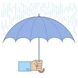 Geschäftsmann unter Verwendung eines Regenschirmes schützt sich vor Regen Lizenzfreies Stockfoto