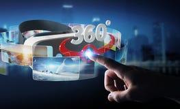 Geschäftsmann unter Verwendung Glas-Technologie 3D der virtuellen Realität renderin Stockfotos