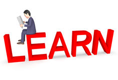 Geschäftsmann Unternehmer Character Means Educate und entwickeln Wiedergabe 3d stock abbildung