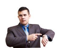 Geschäftsmann unzufrieden gemacht mit Verzögerung stockfotografie