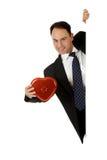 Geschäftsmann, Valentinsgrußschokoladen Lizenzfreies Stockbild