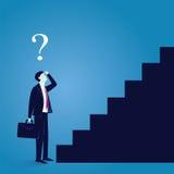 Geschäftsmann verwirren, um ersten Schritt vom Erfolg zu machen Stockbild