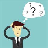Geschäftsmann verwirren vom Denken und handhaben Stockbilder
